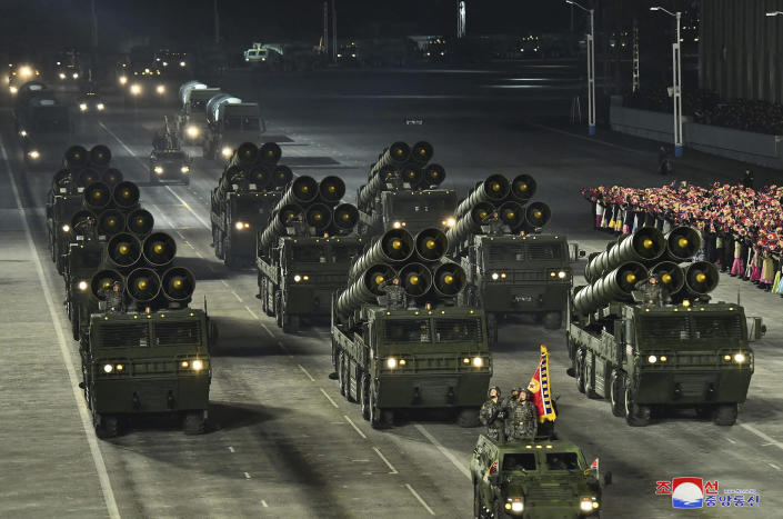 """This photo provided by the North Korean government shows a military parade marking the ruling party congress, at Kim Il Sung Square in Pyongyang, North Korea Thursday, Jan. 14, 2021. North Korea rolled out developmental ballistic missiles designed to be launched from submarines and other military hardware in a parade that punctuated leader Kim Jong Un's defiant calls to expand his nuclear weapons program. Independent journalists were not given access to cover the event depicted in this image distributed by the North Korean government. The content of this image is as provided and cannot be independently verified. Korean language watermark on image as provided by source reads: """"KCNA"""" which is the abbreviation for Korean Central News Agency. (Korean Central News Agency/Korea News Service via AP)"""