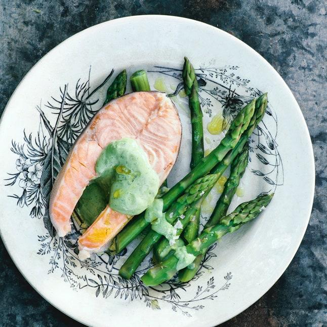 """This herbaceous aioli is also terrific spooned over simply prepared vegetables, such as boiled new potatoes or roasted ramps. <a href=""""https://www.bonappetit.com/recipe/poached-arctic-char-with-basil-tarragon-mayonnaise?mbid=synd_yahoo_rss"""" rel=""""nofollow noopener"""" target=""""_blank"""" data-ylk=""""slk:See recipe."""" class=""""link rapid-noclick-resp"""">See recipe.</a>"""