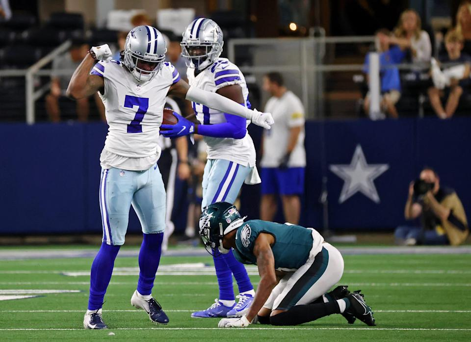 Dallas Cowboys cornerback Trevon Diggs (7) reacts after breaking up a pass intended for Philadelphia Eagles wide receiver DeVonta Smith (6) during the third quarter at AT&T Stadium.