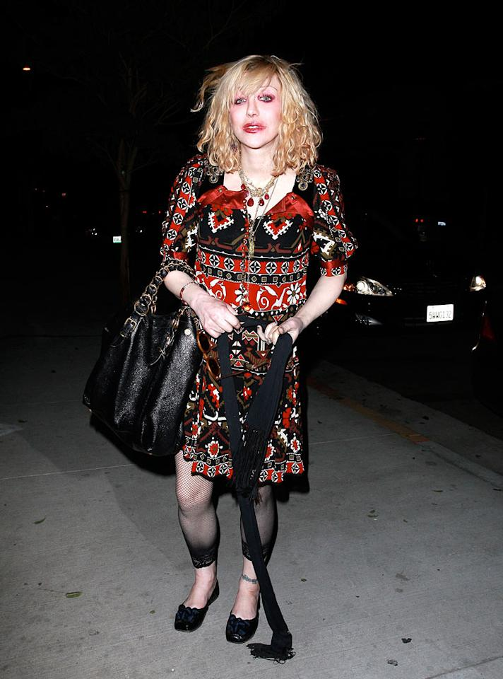 "Courtney Love's sheer tights are not nearly as tacky as her mess of a dress. Bro-KMax/<a href=""http://www.x17online.com"" target=""new"">X17 Online</a> - January 15, 2009"