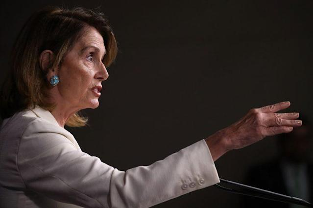 House Minority Leader Nancy Pelosi on July 20 at her weekly Capitol press conference. (Photo: Joe Raedle/Getty Images)