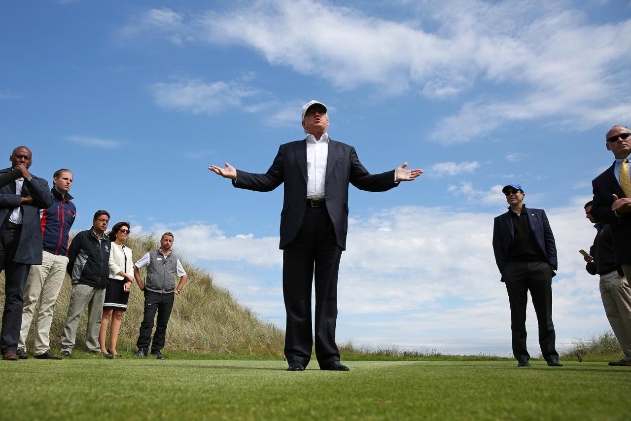 <p>Republican presidential candidate Donald Trump speaks to the media on the golf course at his Trump International Golf Links in Aberdeen, Scotland, June 25, 2016. (Photo: Carlo Allegri/REUTERS) </p>
