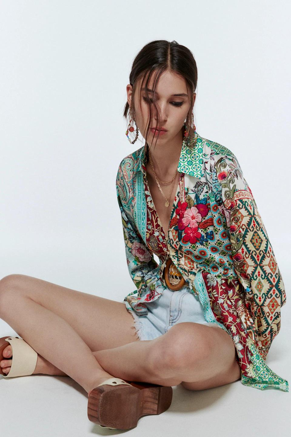 <p>Make sure to pack the <span>Zara Patchwork Printed Shirt</span> ($45), because it's fun and you can wear it a few different ways. We'd style it with trousers and heels to dinner, or with shorts and sandals to the beach.</p>