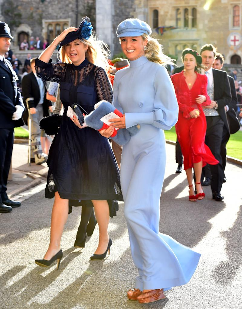 Chelsy Davy, a friend of Eugenie who once dated Prince Harry, arrives.