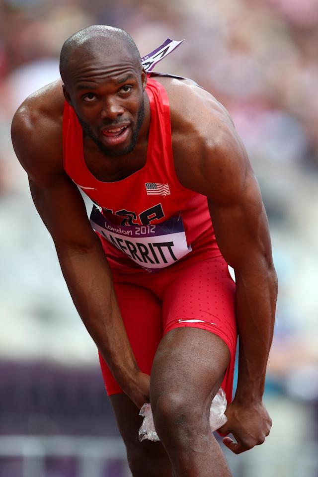 Lashawn Merritt of the United States pulls out with a hamstring injury in the Men's 400m Round 1 Heats on Day 8 of the London 2012 Olympic Games at Olympic Stadium on August 4, 2012 in London, England. (Photo by Michael Steele/Getty Images)
