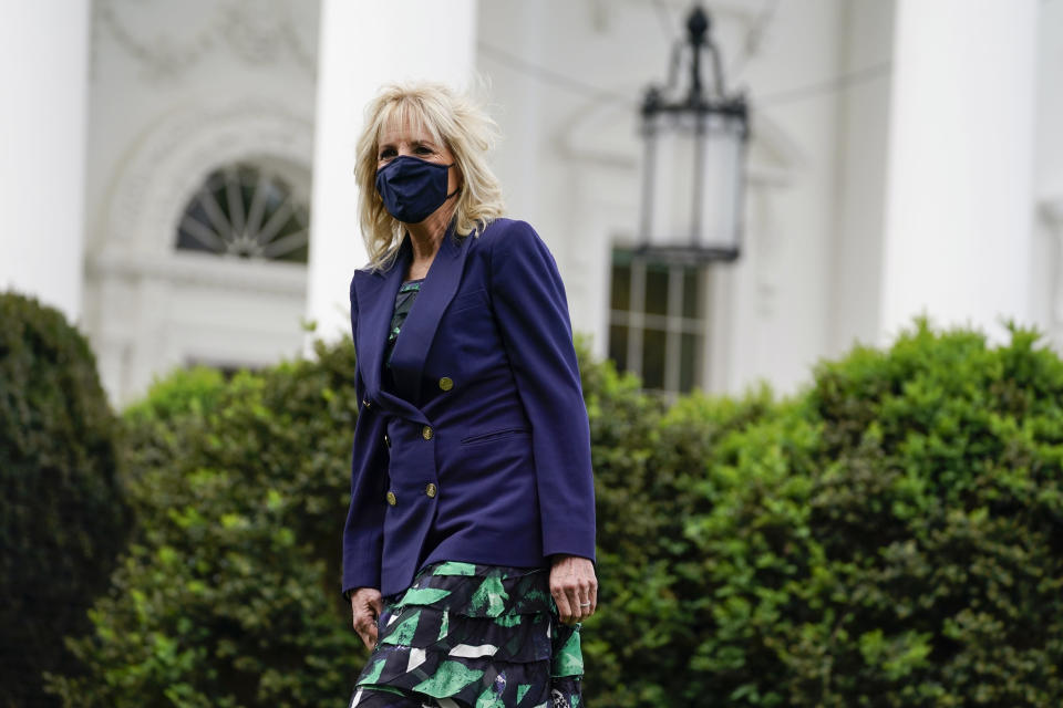 First lady Jill Biden arrives to participate in an Arbor Day tree planting ceremony at the White House, Friday, April 30, 2021, in Washington. (AP Photo/Evan Vucci)