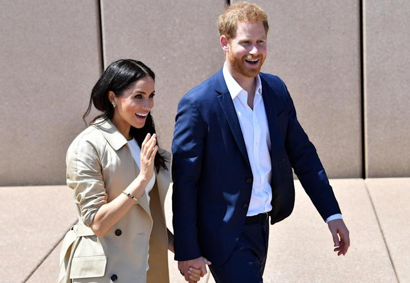 Meghan Markle wearing Princess Diana's bracelet on the first day in Sydney (AFP/Getty Images)