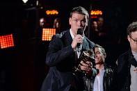 <p>The British actor brought the house down with his acceptance speech on behalf of the two We Are The Millers co-stars he shared the award-winning kiss with, Jennifer Aniston and Emma Roberts. </p>