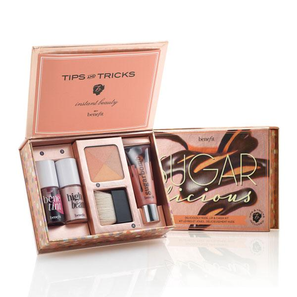 """<a target=""""_blank"""" href=""""http://www.benefitcosmetics.co.uk/product/view/sugarlicious""""><b>Benefit Sugarlicious Deliciously Nude Lip & Cheek Kit - £24.50 – Benefitcosmetics.co.uk</b></a><br><br>Get a new look with this Benefit gift set that contains a mini Benetint for rosy cheeks, High Beam for an iridescent glow, Sugarbomb bronzer for a touch of colour and matching lipgloss."""