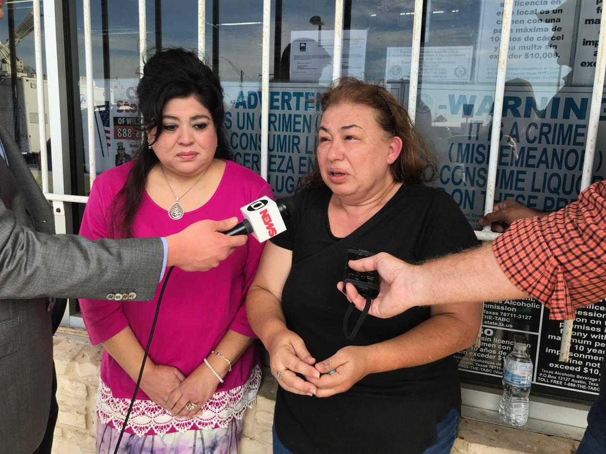 Terrie Smith, right, with a friend standing next to with her for support, speaks to the media in Sutherland Springs, Texas, on Nov. 6, 2017. (Photo: Holly Bailey/Yahoo News)