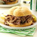 """<p><strong>Hot Beef Sandwich</strong></p><p>The Hot Beef Sandwich is a great companion to survive Winters in North Dakota. <a href=""""http://charliesmain.com/"""" rel=""""nofollow noopener"""" target=""""_blank"""" data-ylk=""""slk:Charlie's Main Street Cafe"""" class=""""link rapid-noclick-resp"""">Charlie's Main Street Cafe</a> serves a mean one. A slide of white bread, roast beef, a scoop of mashed potatoes smothered in hot gravy is so good, but make sure you have enough napkins on hand. </p>"""