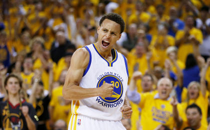 Stephen Curry, the regular-season MVP, is in position to collect an NBA title on King James' court on Tuesday. (Getty Images)