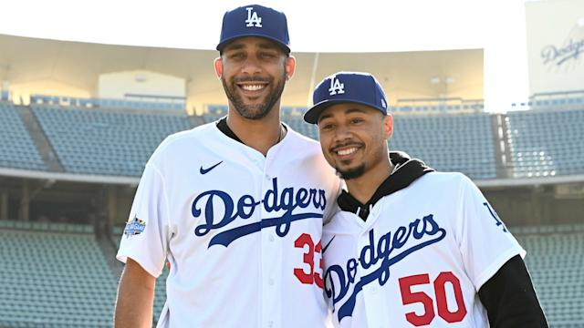 Mookie Betts and fellow recruit David Price were officially introduced as Los Angeles Dodgers players on Wednesday.