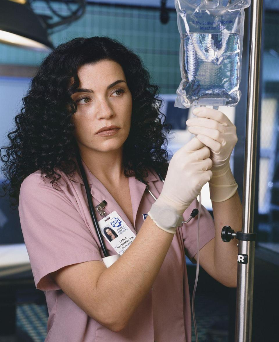 """<p><em>The Good Wife </em>actress's first big TV role was on <em>ER </em>as nurse Carol Hathaway. She was on the show until its sixth season—although that wasn't what the producers originally planned. Margulies's character <a href=""""https://www.cbr.com/er-carol-hathaway-julianna-margulies-overdose-suicide/"""" rel=""""nofollow noopener"""" target=""""_blank"""" data-ylk=""""slk:was supposed to die"""" class=""""link rapid-noclick-resp"""">was supposed to die</a> in the pilot episode, but the actress tested so well with audiences that her character was written into the series.<br></p>"""