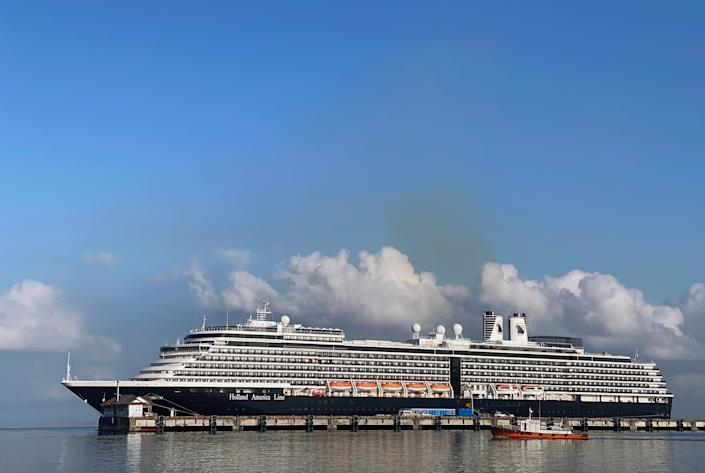 The cruise ship MS Westerdam at dock in the Cambodian port of Sihanoukville, Cambodia.