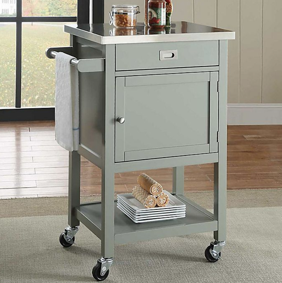 "<h3><a href=""https://www.bedbathandbeyond.com/store/product/sydney-apartment-cart/3314013"" rel=""nofollow noopener"" target=""_blank"" data-ylk=""slk:Linon Home Sydney Apartment Cart"" class=""link rapid-noclick-resp"">Linon Home Sydney Apartment Cart</a></h3> <br>Another clever way to create your own space is with a convenient cart that can transform empty, unused areas in your kitchen into an extra countertop. This cart has a stainless steel top, a drawer, and a shelf for added storage with a towel holder on its side to boot. <br><br><strong>Linon Home</strong> Sydney Apartment Cart, $, available at <a href=""https://go.skimresources.com/?id=30283X879131&url=https%3A%2F%2Fwww.bedbathandbeyond.com%2Fstore%2Fproduct%2Fsydney-apartment-cart%2F3314013"" rel=""nofollow noopener"" target=""_blank"" data-ylk=""slk:Bed Bath & Beyond"" class=""link rapid-noclick-resp"">Bed Bath & Beyond</a><br>"