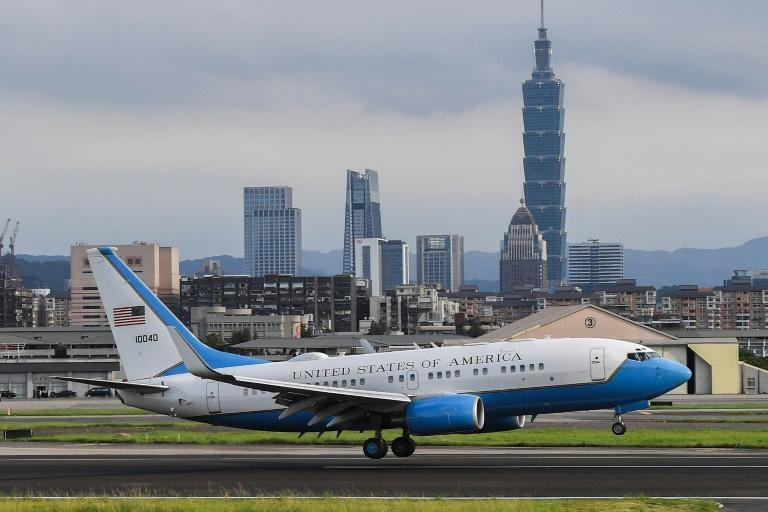 A plane carrying US health chief Alex Azar touched down in Taipei on Sunday