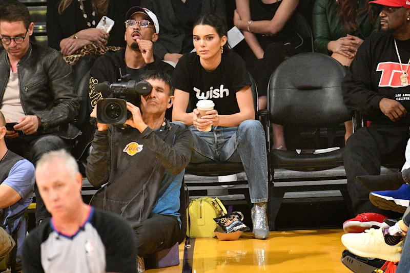 LOS ANGELES, CA - OCTOBER 20: Kendall Jenner attends a basketball game between the Los Angeles Lakers and the Houston Rockets at Staples Center on October 20, 2018 in Los Angeles, California. (Photo by Allen Berezovsky/Getty Images)