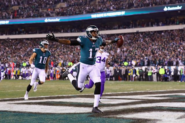<p>Alshon Jeffery #17 of the Philadelphia Eagles celebrates after scoring a 53 yard touchdown reception during the second quarter against the Minnesota Vikings in the NFC Championship game at Lincoln Financial Field on January 21, 2018 in Philadelphia, Pennsylvania. (Photo by Al Bello/Getty Images) </p>