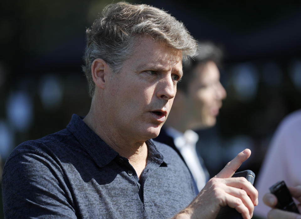 Yankee controling owner Hal Steinbrenner attends a private Baseball Clinic in London, Thursday, June 27, 2019. The Yankees are hosting for approximately 100 youth in the London community in conjunction with the London Meteorites Baseball and Softball Club this private Baseball Clinic. (AP Photo/Frank Augstein)
