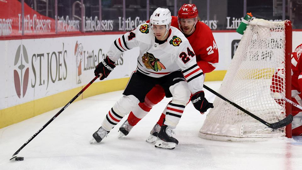 Pius Suter should benefit from Chicago's soft schedule this week, which includes two games against the Red Wings. (Photo by Gregory Shamus/Getty Images)