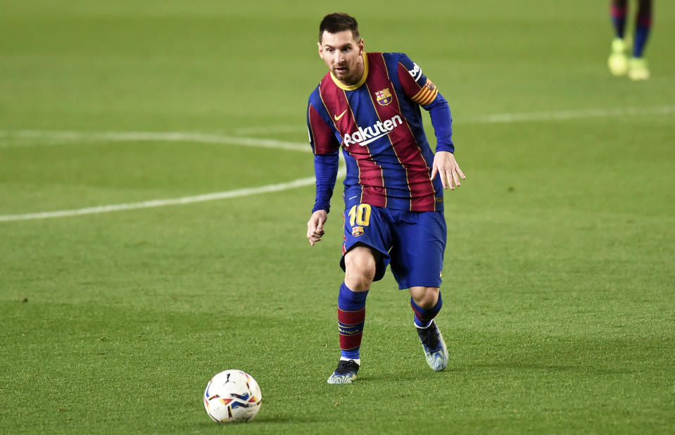Leo Messi during the match between FC Barcelona and Athletic Club, corresponding to the week 21 of the Liga Santander, played at the Camp Nou Stadium, on 31th January 2021, in Barcelona, Spain.   -- (Photo by Urbanandsport/NurPhoto via Getty Images)