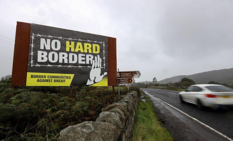 View of the border crossing between the Republic of Ireland and Northern Ireland outside Newry