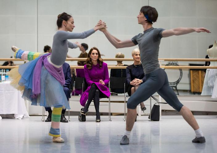 "<p>Duchess Kate watches Royal Ballet principal dancers Lauren Cuthbertson and Vadim Muntagirov rehearsing the romantic ballet ""The Two Pigeons"" during her visit to the Royal Opera House.</p>"