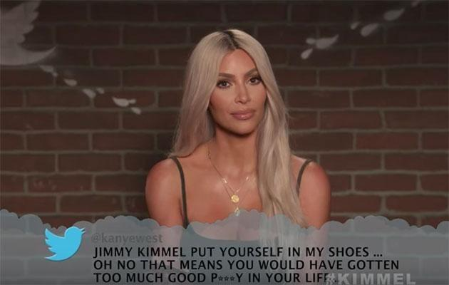 Kim used one of hubby Kanye West's tweets. Source: Jimmy Kimmel Live!