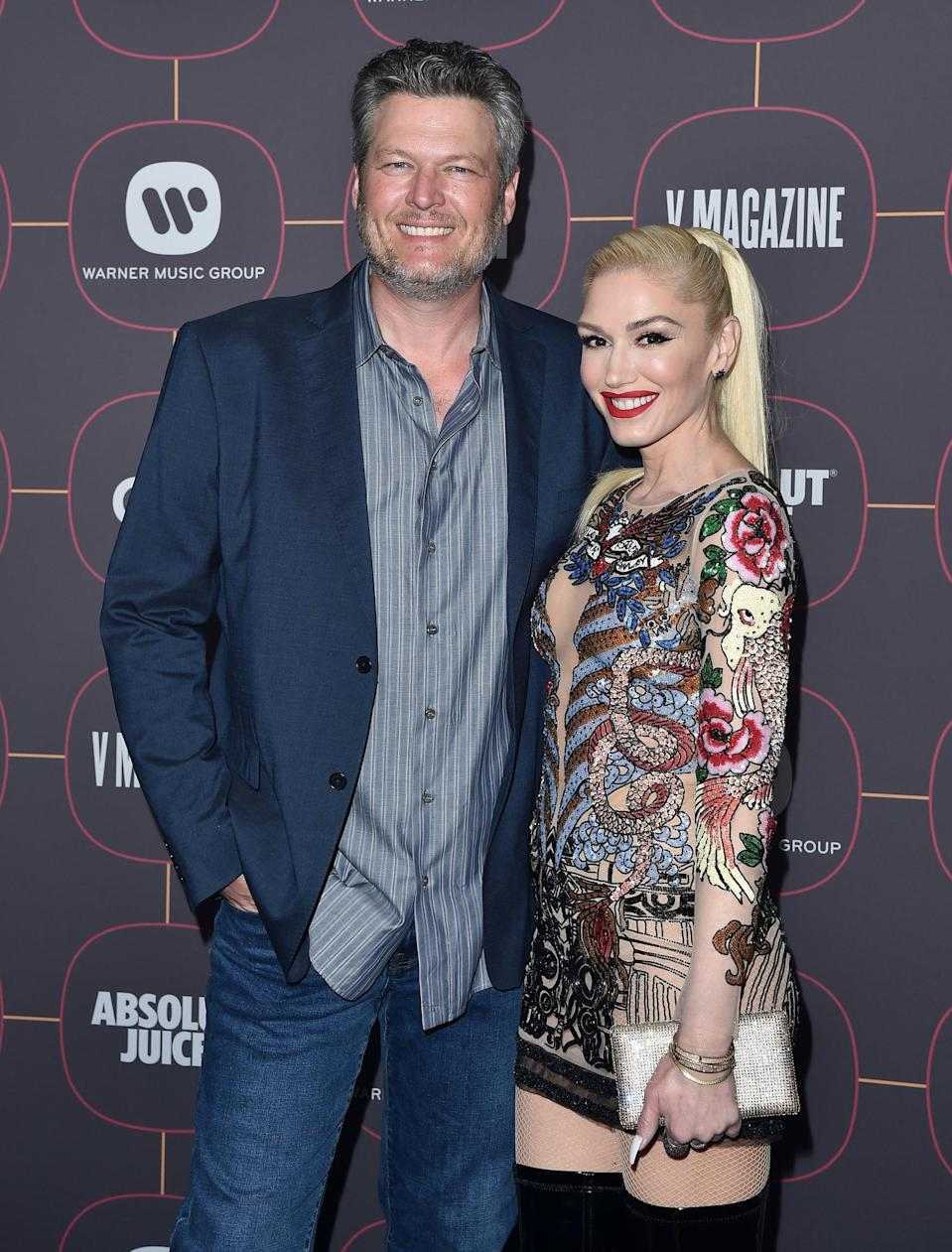 """<p>Stefani and Shelton first met on <strong>The Voice</strong> in 2014, while she was still married to Rossdale and Shelton was still married to his second wife, singer Miranda Lambert. By the end of 2015, however, both their marriages were ending, and <strong>E! News</strong> reported that <a href=""""http://www.eonline.com/news/712391/exclusive-gwen-stefani-and-blake-shelton-s-pda-filled-weekend-prove-they-re-more-than-friends"""" class=""""link rapid-noclick-resp"""" rel=""""nofollow noopener"""" target=""""_blank"""" data-ylk=""""slk:they spent a weekend together"""">they spent a weekend together</a> over <a class=""""link rapid-noclick-resp"""" href=""""https://www.popsugar.co.uk/Halloween"""" rel=""""nofollow noopener"""" target=""""_blank"""" data-ylk=""""slk:Halloween"""">Halloween</a>, looking decidedly nonplatonic. </p> <p>In November, <a href=""""http://www.eonline.com/news/713073/blake-shelton-and-gwen-stefani-are-dating"""" class=""""link rapid-noclick-resp"""" rel=""""nofollow noopener"""" target=""""_blank"""" data-ylk=""""slk:Shelton's team officially confirmed the relationship"""">Shelton's team officially confirmed the relationship</a> to <strong>E! News</strong> and other outlets. After that announcement, they started appearing together more in public and on social media, as well as later seasons of <strong>The Voice</strong>. After years of adorable pictures and shared musical performances, <a href=""""http://www.instagram.com/p/CG2tZeonC9m/"""" class=""""link rapid-noclick-resp"""" rel=""""nofollow noopener"""" target=""""_blank"""" data-ylk=""""slk:Stefani shared news of their engagement"""">Stefani shared news of their engagement</a> on Instagram on Oct. 27, posting a picture of them together with her showing off her ring. """"@blakeshelton yes please!"""" she captioned the photo, complete with an engagement ring emoji.</p>"""
