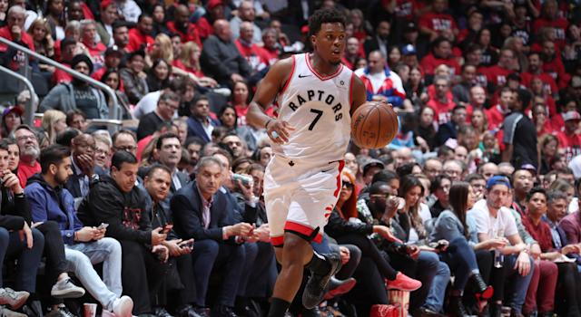Toronto's Kyle Lowry handles the ball against the Orlando Magic during Game 5 of their first round playoff matchup at Scotiabank Arena on Tuesday night. (Photo by Nathaniel S. Butler/NBAE via Getty Images)