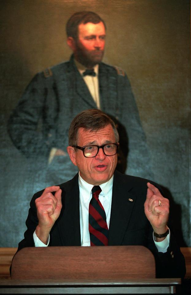 FILE - In this March 29, 1994 photo, Charles Colson of Prison Fellowship, talks to reporters in New York.  Colson, the tough-as-nails special counsel to President Richard Nixon who went to prison for his role in a Watergate-related case and became a Christian evangelical helping inmates, has died. He was 80. Jim Liske, chief executive of the Lansdowne-based Prison Fellowship Ministries that Colson founded, said Colson died Saturday, April 21, 2012.