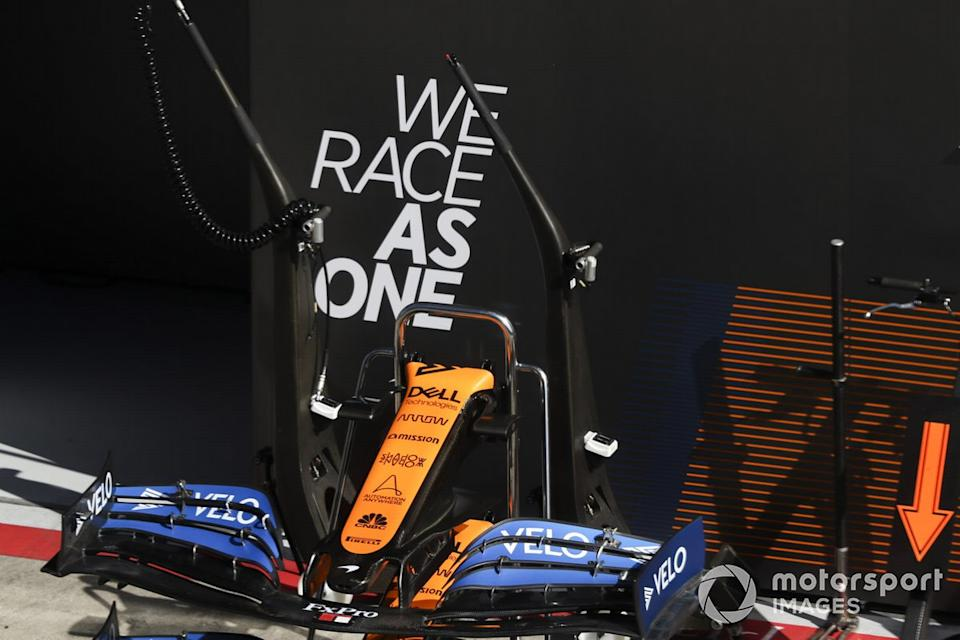 "Front wing of MCL35 infront of We Race As One logo<span class=""copyright"">Charles Coates / Motorsport Images</span>"