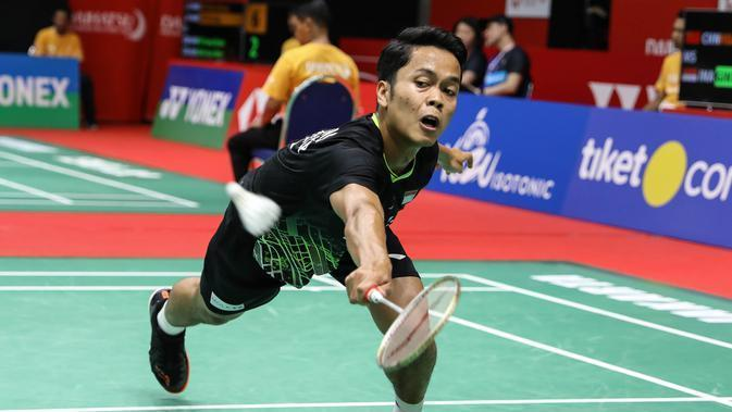 Aksi Tunggal putra Indonesia, Anthony Sinisuka Ginting. (PBSI)