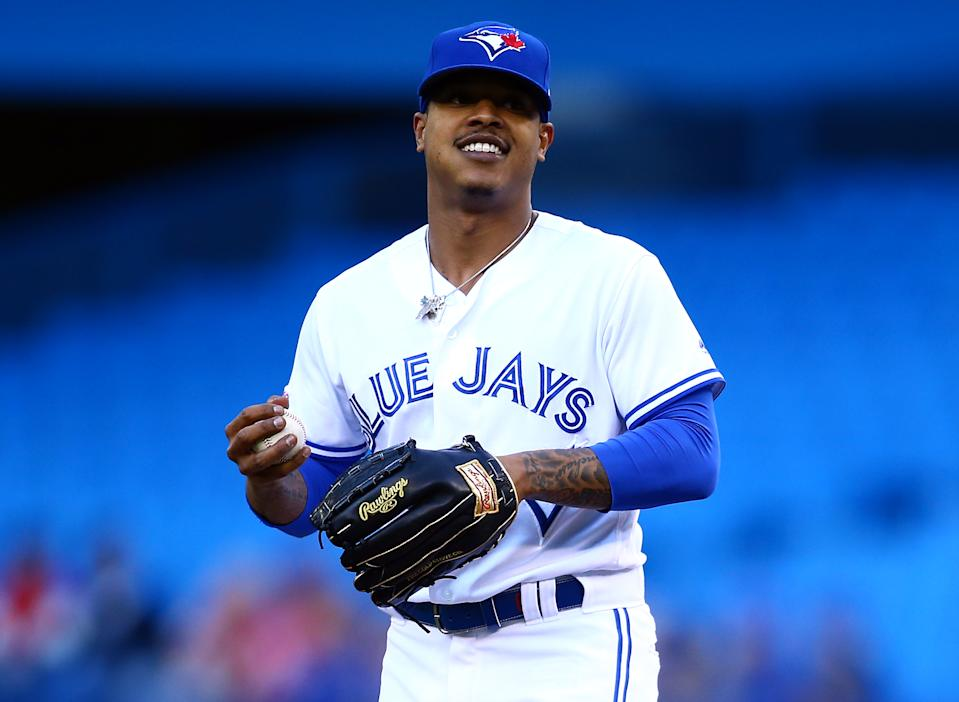 TORONTO, ON - JUNE 18:  Marcus Stroman #6 of the Toronto Blue Jays smiles in the direction of the dugout in the first inning during a MLB game against the Los Angeles Angels of Anaheim at Rogers Centre on June 18, 2019 in Toronto, Canada.  (Photo by Vaughn Ridley/Getty Images)