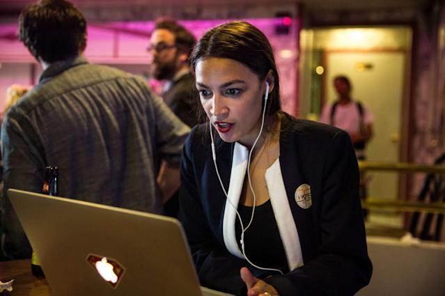 Progressive challenger Alexandria Ocasio-Cortez celebrates with supporters at a victory party in the Bronx after defeating incumbent Rep. Joseph Crowley, D-N.Y., on June 26, 2018, in New York. (Photo: Scott Heins/Getty Images)