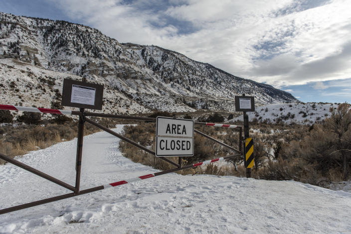 The parking lot and changing area at Boiling River is closed on Jan. 3, 2019 in Yellowstone National Park, Wyoming. While visitors can still access the river, non-emergency services in Yellowstone National Park have been suspended during the current government shutdown. (Photo: William Campbell/Corbis via Getty Images)