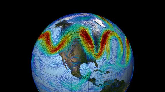 The polar jet stream can travel at speeds greater than 100 mph. Here, the fastest winds are colored red; slower winds are blue.