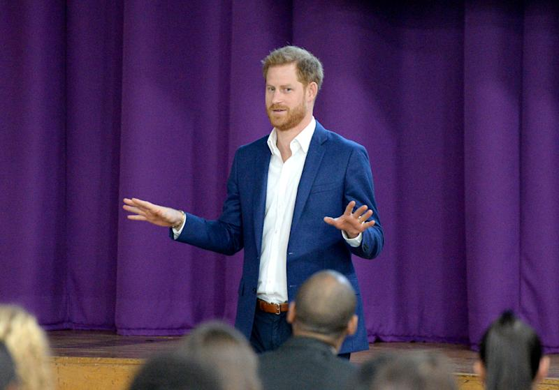 NOTTINGHAM, ENGLAND - OCTOBER 10: Prince Harry, Duke of Sussex attends a school assembly with Year 11 students, during his visit to Nottingham Academy to mark World Mental Health Day on October 10, 2019 in Nottingham, England. (Photo by Eamonn M. McCormack/Getty Images)
