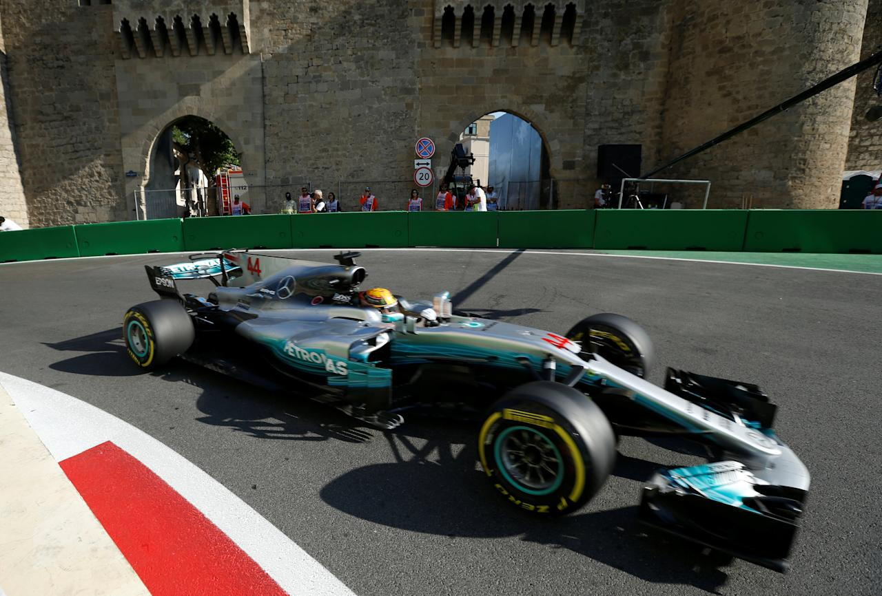 Formula One - F1 - Azerbaijan Grand Prix - Baku, Azerbaijan - June 23, 2017. Mercedes' Lewis Hamilton drives during the second practice session. REUTERS/David Mdzinarishvili