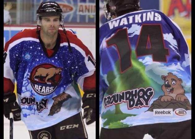 Hershey Bears honor the big day, Groundhog Day, with special-edition cartoon jerseys (Photo)