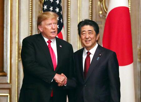 U.S. President Donald Trump shakes hands with Japanese Prime Minister Shinzo Abe prior to their working luncheon at the Akasaka guesthouse in Tokyo, Japan May 27, 2019. Yoshikazu Tsuno/Pool via REUTERS