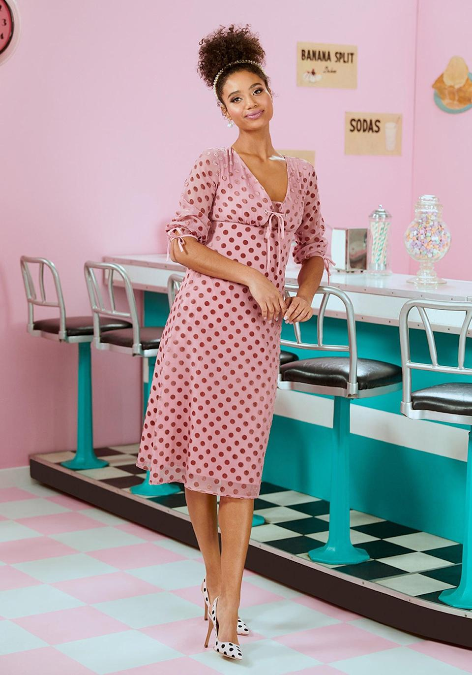 <p>If you're dressing up this holiday, go with this fun <span>Modcloth Love at First Dot Midi Dress</span> ($139).</p>