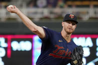 Minnesota Twins pitcher Bailey Ober throws against the Toronto Blue Jays in the first inning of a baseball game, Friday, Sept. 24, 2021, in Minneapolis. (AP Photo/Jim Mone)