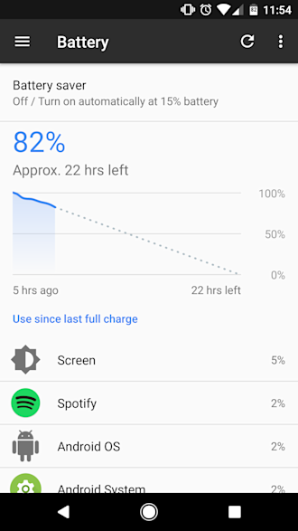 Android battery use menu