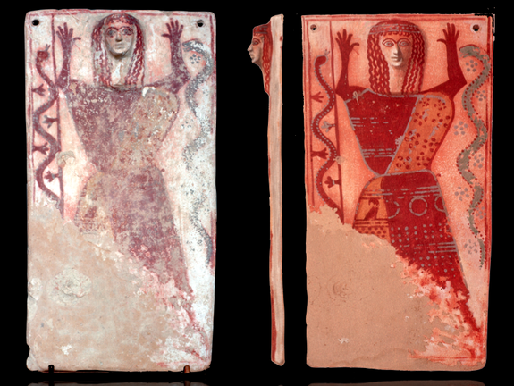 "A mysterious ""snake goddess"" found in Athens is painted on a plaque with a molded face."