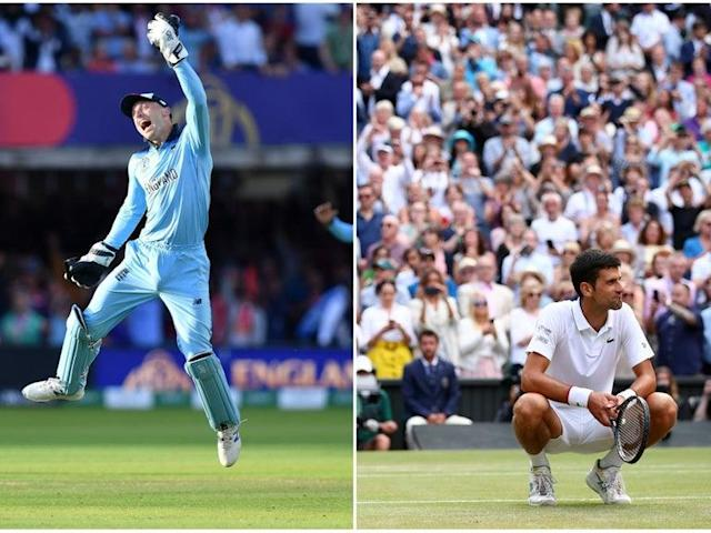 """A combined peak audience of 8.3 million saw England's dramatic World Cup final win play out on television, but despite the interest in the cricket, the BBC was able to boast the best sporting viewing figures of the weekend, with a peak audience of 9.6m tuning in to watch the men's final at Wimbledon between winner Novak Djokovic and Roger Federer.Free-to-air viewers were able to watch England's cricketers live for the first time since the 2005 Ashes series after Sky Sports agreed for Channel 4 to also show the Lord's clash with New Zealand.The decision – widely celebrated – was vindicated with Channel 4 saying on Monday that the audience peaked at 8.3m, with 4.8m of those watching on the terrestrial channel. """"I'm thrilled that a total peak audience of 8.3m watched England win the Cricket World Cup final on Channel 4 and Sky,"""" said Channel 4's chief executive Alex Mahon.Channel 4 also shared live coverage of the British Grand Prix, won by home favourite Lewis Hamilton, which 3.7m viewers saw across the two networks.""""It's wonderful that the whole nation can come together to share these momentous British sporting events thanks to a fantastic partnership between Channel 4 and Sky,"""" Mahon added.Sky was also celebrating the figures, with UK and Ireland chief executive Stephen Van Rooyen saying: """"Congratulations to England and everyone who has been part of the journey at the ECB. The ICC put on a terrific tournament.""""We've been proud host broadcasters of a home Cricket World Cup, dedicating a channel and showing every single minute, which has been absorbing from the first ball to the unforgettable final delivery.""""Sunday saw a peak across Sky and Channel 4 of 8.3 million – a huge audience for a huge moment for British sport. On Sky's channels our peak was 3.5m alone, a fitting way to cap a terrific tournament.""""We are proud of our long-term cricket partnership, which has grown over three decades, delivering record investment into the sport. This partnership will continue wit"""