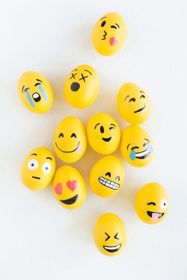 """<p>How are you <em>really</em> feeling about springtime? Express it on your Easter eggs with this cheeky painting technique. Use yellow craft paint and black and red paint markers to whip up a whole set of emoji eggs that are sure to wow the crowd.</p><p><em><a href=""""https://studiodiy.com/diy-emoji-easter-eggs/"""" rel=""""nofollow noopener"""" target=""""_blank"""" data-ylk=""""slk:Get the tutorial at Studio DIY"""" class=""""link rapid-noclick-resp"""">Get the tutorial at Studio DIY</a></em></p>"""