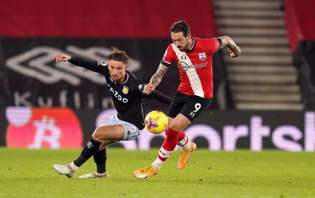 Aston Villa's Matty Cash  and Southampton's Danny Ings