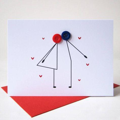 Kissing Couple Button Card